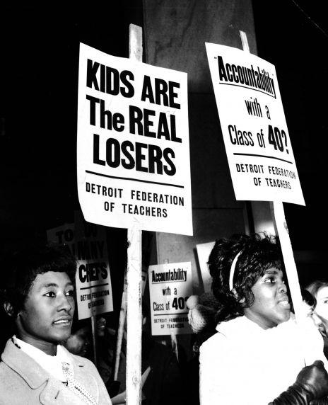Teachers strike, pickets, Detroit, Michigan