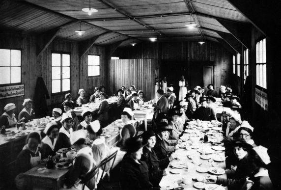 (11130) Base Hospital #17, Nurses' Mess Hall, Dijon, France, 1917