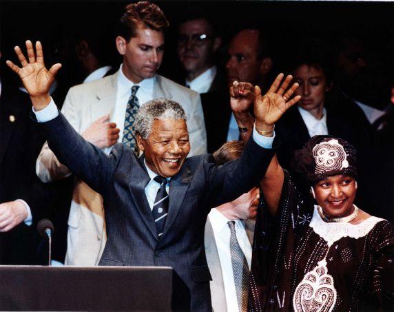 (11473) Nelson Mandela, Winnie Mandela, Detroit, Michigan, 1990