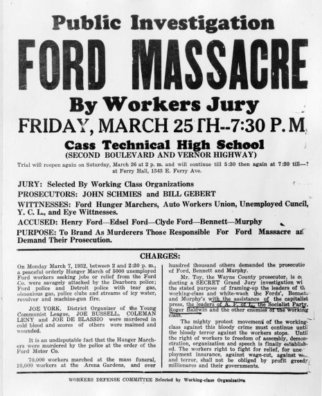 (12282) Ford Hunger March, Workers' Inquiry, Flyer, 1932