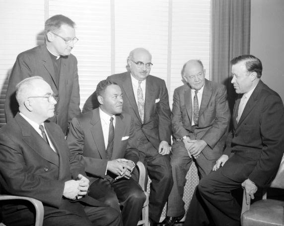 (DN_17101) UAW Public Review Board, Reuther, Adler, McRae, Oxnam, 1957