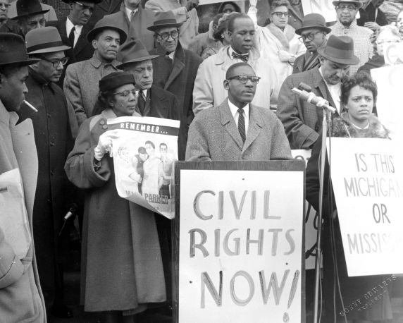 (24843) NAACP, Demonstrations, Arthur Johnson, State Capitol, Lansing, 1960