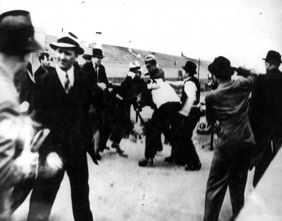 (25228) UAW Organizing, Violence, Battle of the Overpass, Dearborn, 1937