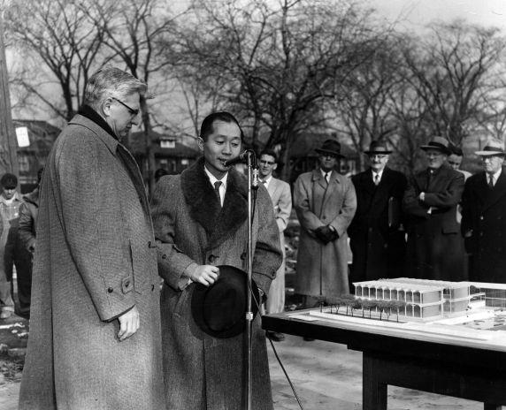 (25923) Buildings, McGregor Memorial, Groundbreaking, Yamasaki, 1956