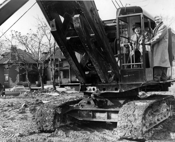 (25924) Buildings, McGregor Memorial, Groundbreaking, Hilberry, Neef, 1956