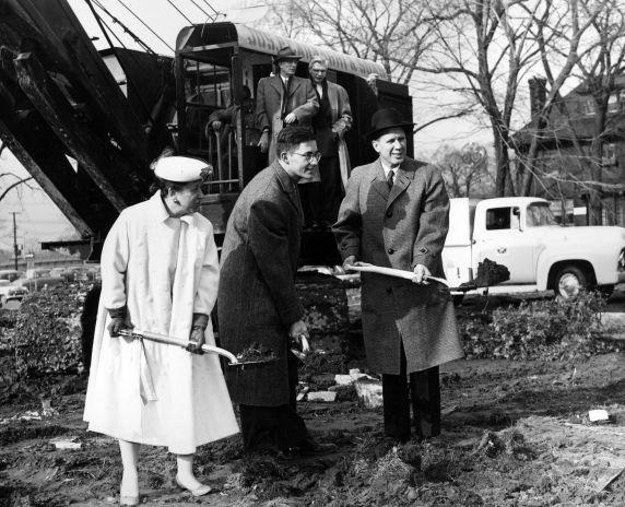 (25927) Buildings, McGregor Memorial, Groundbreaking, Neef, Hilberry, 1956