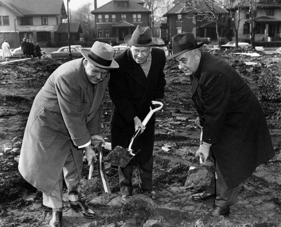 (25928) Buildings, McGregor Memorial, Groundbreaking, 1956