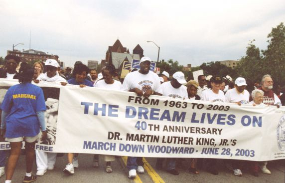 (28075) Demonstrations, Civil Rights March, Anniversary, Detroit, 2003