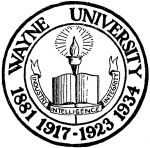 (28394), University seal, Wayne University, Detroit, Michigan, 1935.