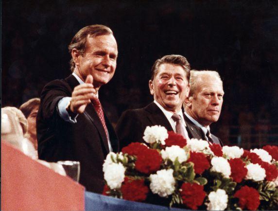 (28868) Presidents, Ronald Regan, Jerry Ford, George H.W. Bush, Detroit, 1980