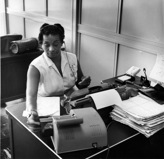 walter p reuther library female office worker