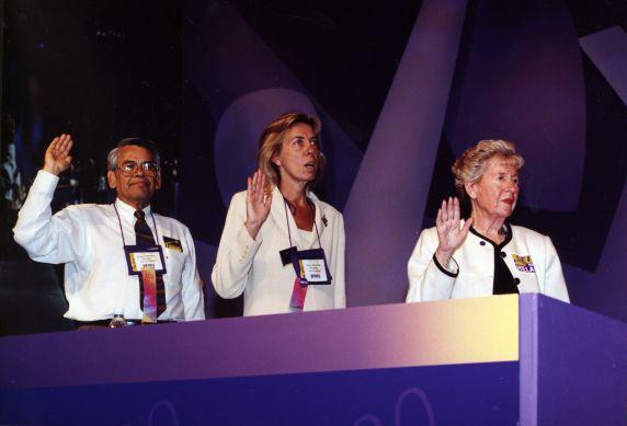 (29205) Eliseo Medina, Anna Burger, SEIU 22nd International Convention, Pittsburgh, Pennsylvania, 2000
