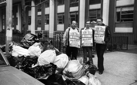 (29299) Demonstrators, Local 32B-32J Strike, No. 1 Washington Place, New York City, 1979