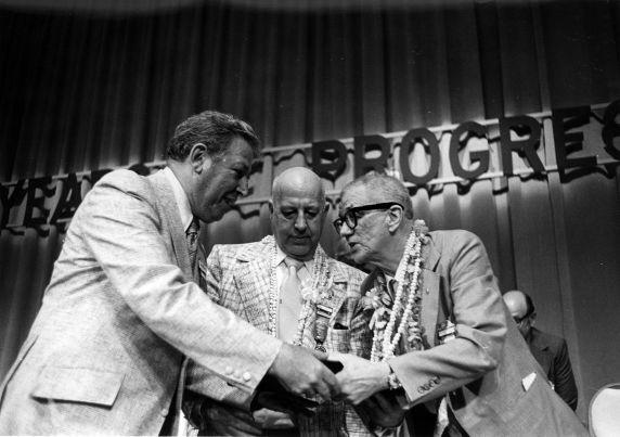 (29503) Al Barkan, George Hardy, Anthony Weinlein, SEIU Conference, Honolulu, Hawaii, 1976