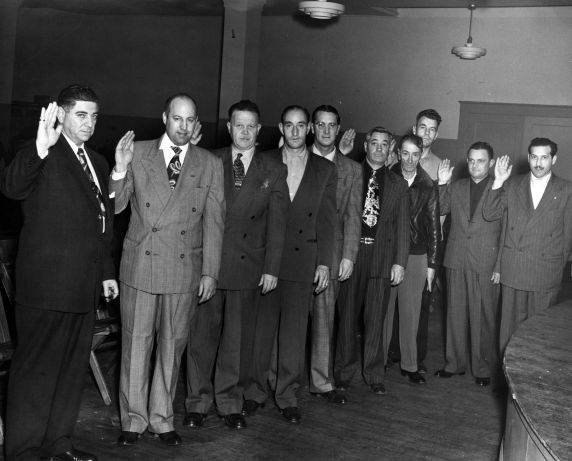 (29507) Local 9 Officer Installation, George Hardy, 1952.