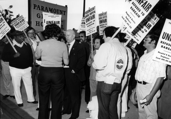 (29518) George Hardy, Local 399, Paramount General Hospital Demonstration and Interview, 1975