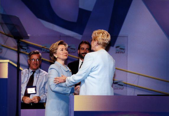 (29688) Betty Bednarczyk, Hillary Clinton, 22nd SEIU Convention, Pittsburgh, Pennsylvania, 2000