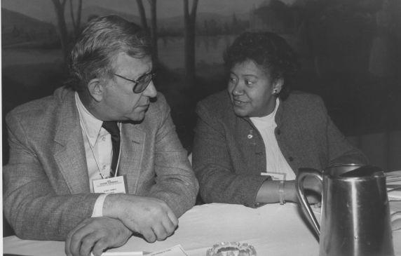 (30374) AFT President Albert Shanker talking to Loretta Johnson