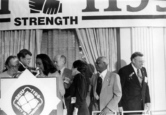 (30583) Coretta Scott King, Ted Kennedy, John Sweeney, 1199 / SEIU Healthcare Conference, 1981