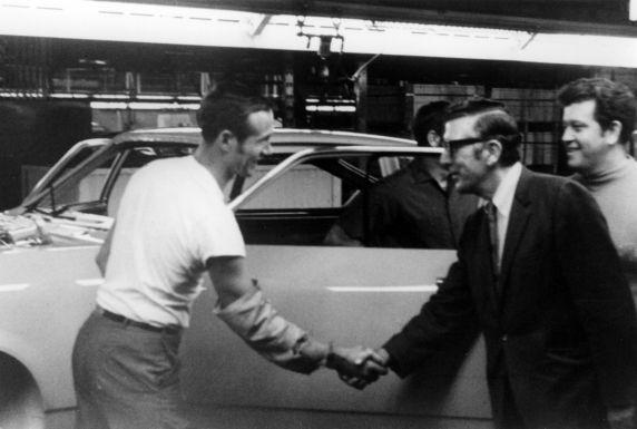 (30608) UAW President Leonard Woodcock, Lordstown, Ohio, 1970