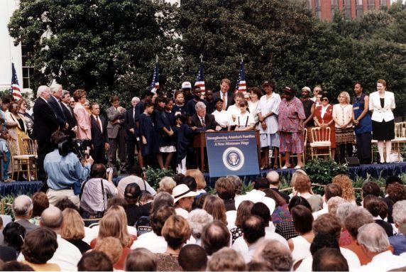 (30761) Bill Clinton and John Sweeney, Minimum Wage Bill Signing, Washington, D.C., 1996