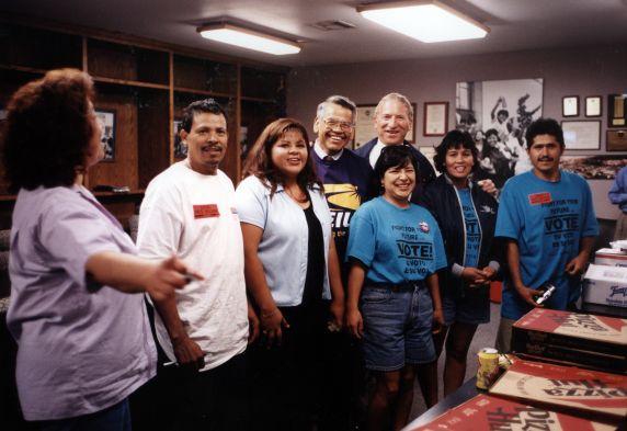 (30767) Eliseo Medina, Andrew Stern, Politiking for Grey Davis, Los Angeles, CA, 1998