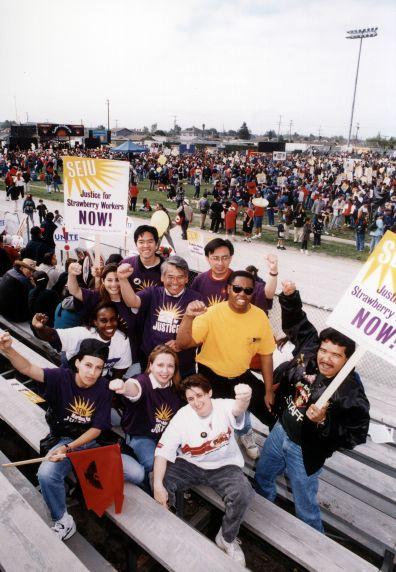(30771) Eliseo Medina, UFW Strawberry March with SEIU, Group Pose, 1997