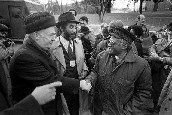 (30857) John Sweeney, Bishop Desmond Tutu, Washington, D.C., 1986