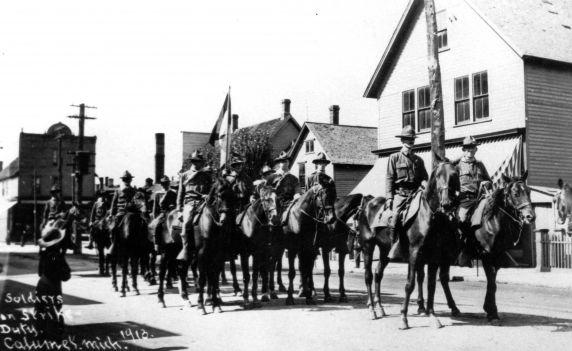 (30876) Copper Country Strike, Soldiers, Strike Duty, Calumet, Michigan, 1913