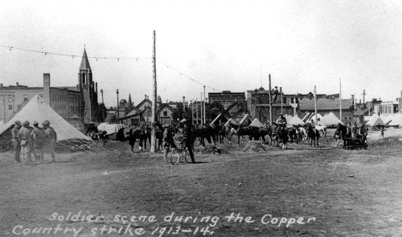 (30877) Copper Country Strike, Soldiers, Strike Duty, Calumet, Michigan, 1913