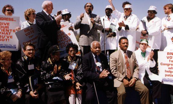 (31836) John Sweeney, Jessey Jackson, Workers, Healthcare Reform Rally, 1994