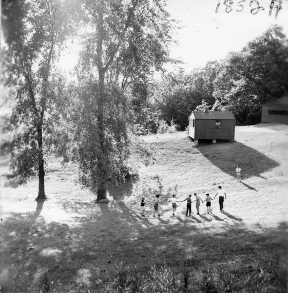 (32336) Counselors and Campers on the Grounds, Merrill-Palmer Summer Camp