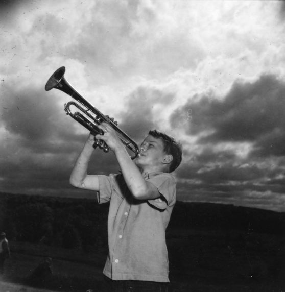 (32338) Family Camp, Merrill-Palmer Summer Camp, Boy Playing Trumpet