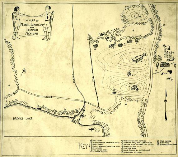 (32347) A Map of Merrill Palmer Camp Near Leonard Michigan