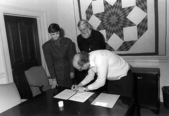 (32370) Signing Ceremony for Joe Hill's Ashes, Utah Phillips, Fred Lee, Trudy Peterson, 1988