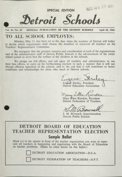 (34035) Detroit Public Schools Newsletter, Collective Bargaining Election, 1964