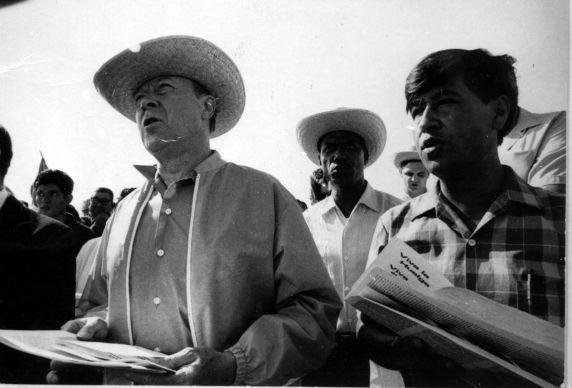 (363) Walter Reuther, Cesar Chavez, California, 1960s