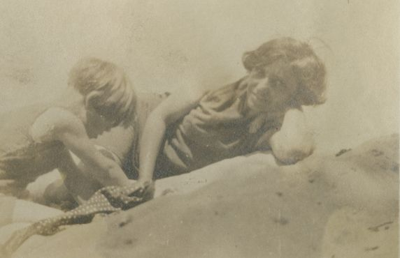 (37645) Matilda and Vita on the beach, [Massachusetts], probably 1921.