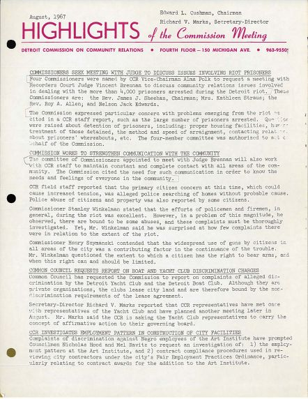 (38436) Highlights of the Commission Meeting, August 1967