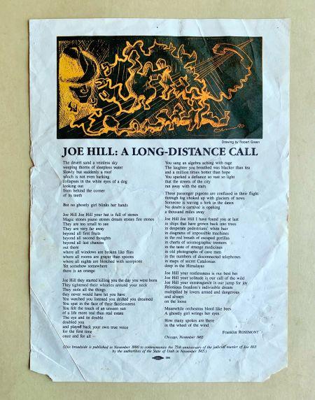 (46048) Broadside, Poetry, Joe Hill, 1990