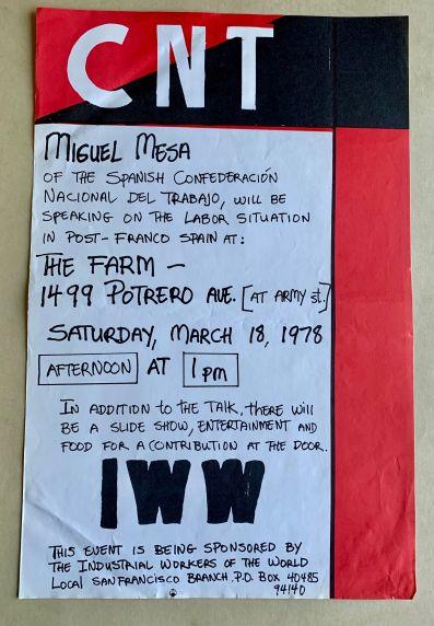 (46056) Posters, CNT, Meetings, Mesa, 1978