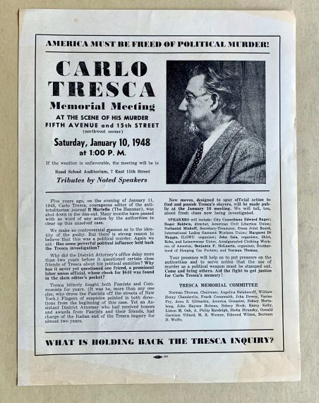 (46057) Broadside, Carlos Tresca, Memorial Meeting, 1948