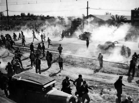 (6591) Strikes, Violence, Cannery Workers, Stockton, California, 1937