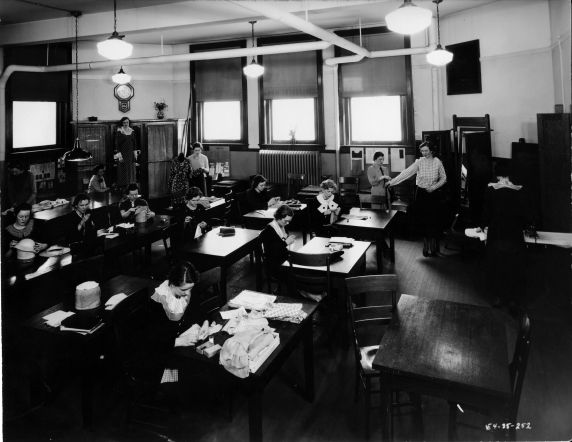 (6701) Classrooms, Interiors, Old Main, 1935