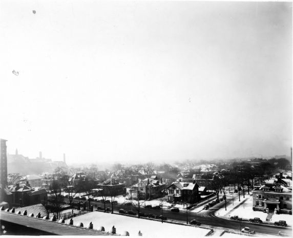 (6716) Campus Scenes, Cass Avenue, Merrick Avenue, 1935