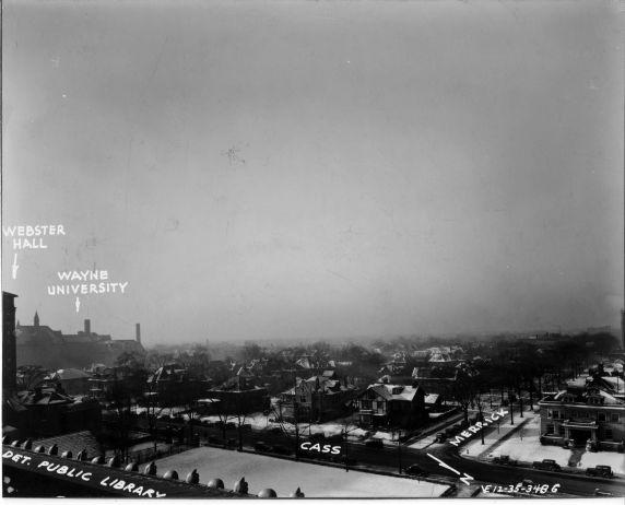 (6717) Campus Scenes, Cass Avenue, Second Avenue, 1935