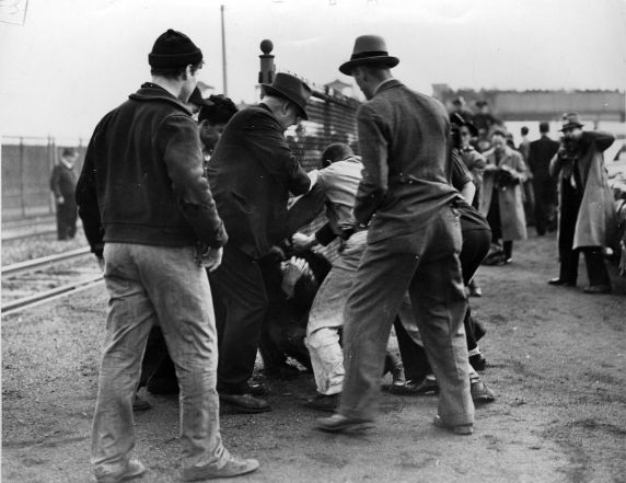 (8748) UAW Organizing, Violence, Battle of the Overpass, Dearborn, 1937
