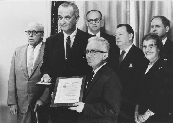 (12170) AFT President Charlie Cogen and President Lyndon B. Johnson
