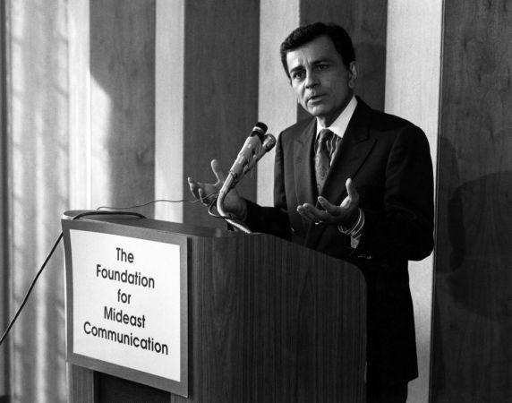 Casey Kasem speaking at podium, 1980s