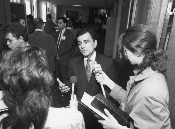 Casey Kasem speaking to reporters, 1980s
